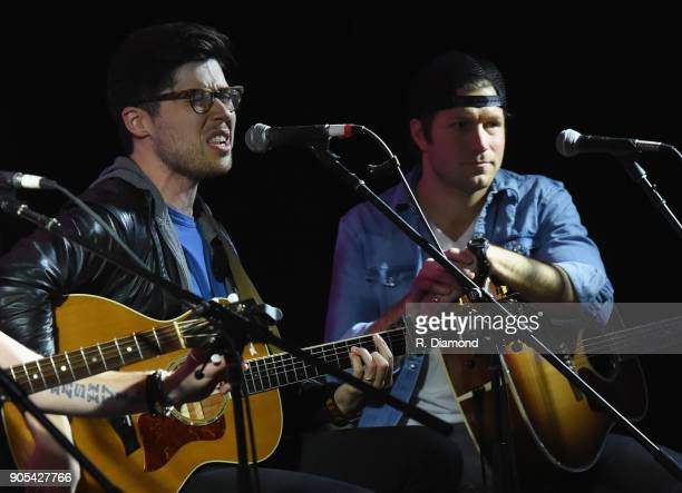 Adam Hambrick and Jacob Davis perform during the ASCAP Showcase at The Lakehouse during the 9th Annual 30A Songwriters Festival day 3 on January 14...