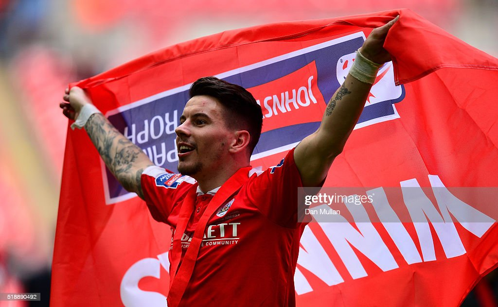 Adam Hammill of Barnsley celebrates following his side's victory during the Johnstone's Paint Trophy Final between Oxford United and Barnsley at Wembley Stadium on April 3, 2016 in London, England.