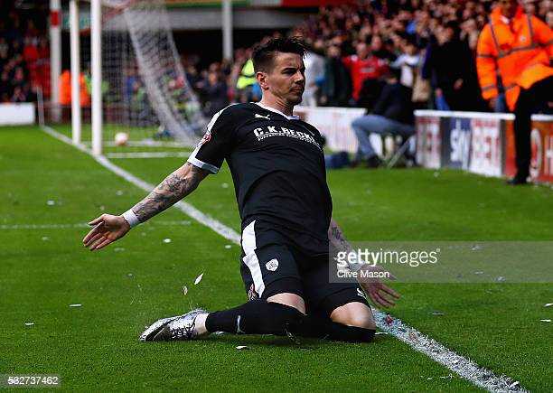 Adam Hammill of Barnsley celebrates scoring a goal during the Sky Bet League One play off second leg match between Walsall and Barnsley at Bescot...