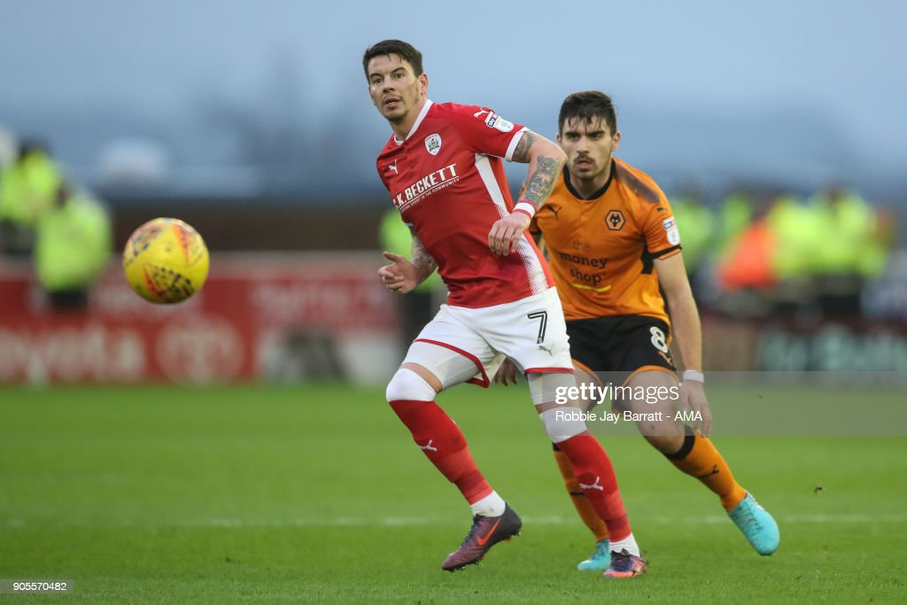 Adam Hammill of Barnsley during the Sky Bet Championship match between Barnsley and Wolverhampton at Oakwell Stadium on January 13, 2018 in Barnsley, England.
