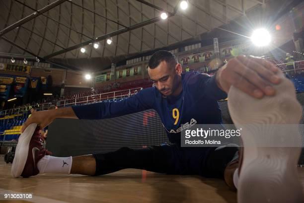 Adam Hanga #9 of FC Barcelona Lassa stretching prior the 2017/2018 Turkish Airlines EuroLeague Regular Season Round 21 game between FC Barcelona...