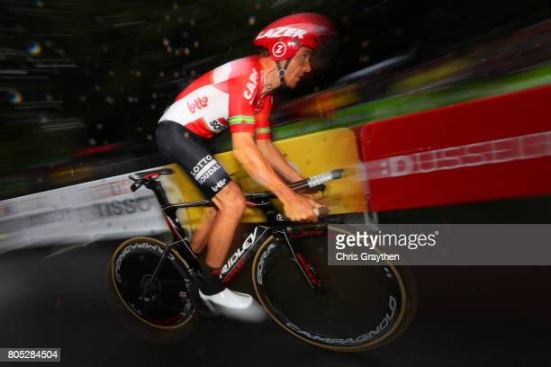 Adam Hansen of Australia and Lotto Soudal competes during stage one of Le Tour de France 2017 a 14km individual time trial on July 1 2017 in...