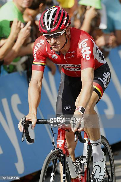 Adam Hansen of Australia and LottoSoudal crosses the finish line during stage sixteenth of the 2015 Tour de France a 201 km stage from Bourg de Peage...