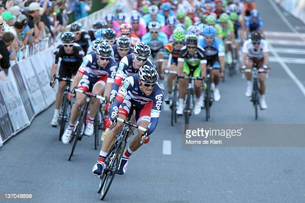 Adam Hansen of Australia and Team Lotto Belisol leads the peloton with one lap to go during the 2012 Tour Down Under Classic on January 15 2012 in...