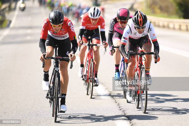 Adam Hansen of Australia and Team Lotto Soudal / Pablo Torres Muino of Spain and Team Burgos BH / Jetse Bol of The Netherlands and Team Manzana...