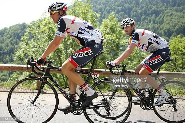 Adam Hansen of Australia and Team LottoBelisol Frederik Willems of Belgium and Team LottoBelisol climb the Col De Mente during Stage Nine the Tour de...