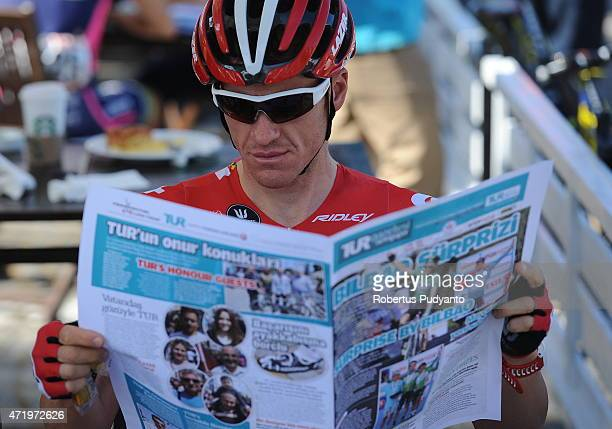 Adam Hansen of Lotto Soudal reads the newspaper during the Stage 7 of the 51st Presidential Cycling Tour of Turkey 2015 Selcuk Izmir on May 2 2015 in...