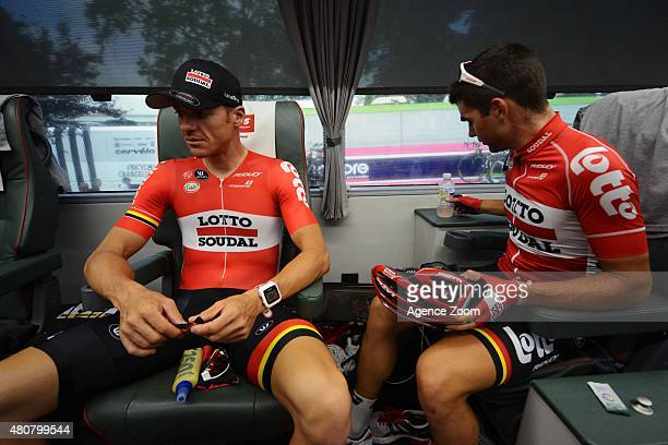 Adam Hansen of Team Lotto Soudal Tony Gallopin of Team Lotto Soudal competes during Stage Eleven of the Tour de France on Wednesday 15 July 2015...