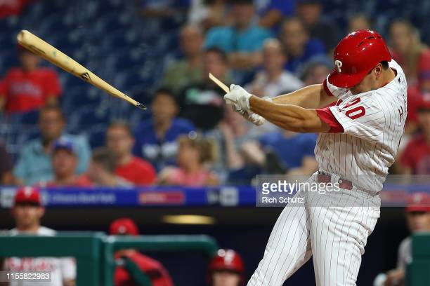 Adam Haseley of the Philadelphia Phillies breaks his bat on a swing in the ninth inning of a game against the Los Angeles Dodgers at Citizens Bank...