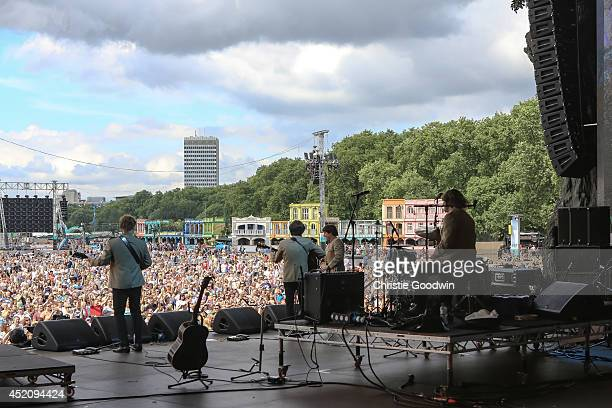 Adam Hastings Andre Barreau Steve White and Hugo Degenhardt of The Bootleg Beatles perform on stage at British Summer Time Festival at Hyde Park on...