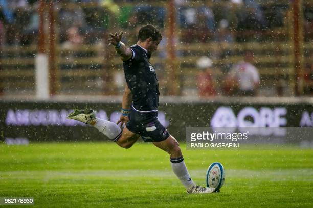TOPSHOT Adam Hastings from Scotland kicks the ball during their international test match against Argentina at the Centenario stadium in Resistencia...