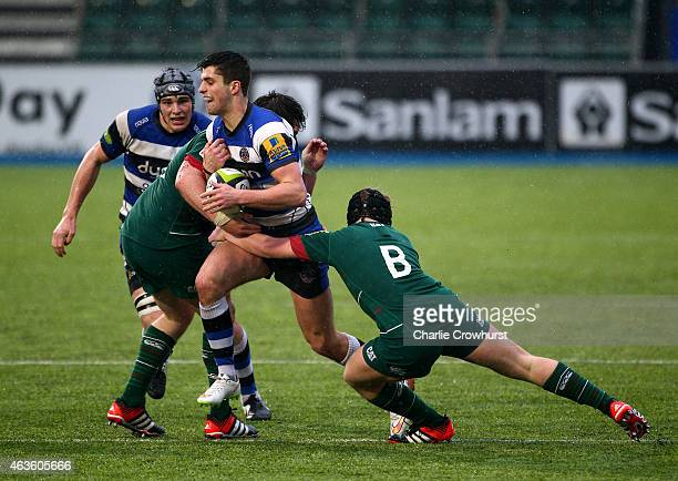 Adam Hastings of Bath looks to attack during the Premiership Rugby/RFU U18 Academy Finals Day match between Leicester Tigers and Bath at The Allianz...