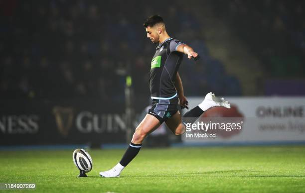 Adam Hastings of Glasgow Warriors kicks a conversion during the Guinness Pro14 Round 5 match between Glasgow Warriors and Southern Kings at Scotstoun...