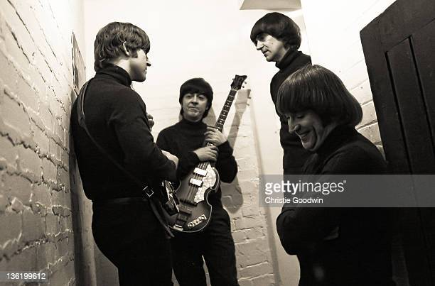 Adam HastingsDavid CatlinBirchAndrea Barreau and Hugo Degenhardt of The Bootleg Beatles backstage at the Hammersmith Apollo on December 19 2011 in...