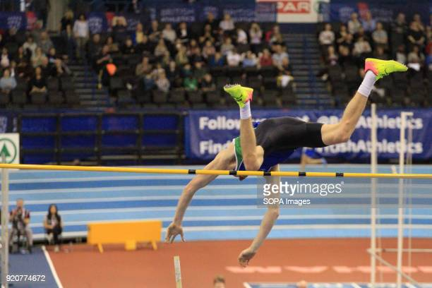 Adam Hauge hits the pole during the Pole Vault at the Arena Birmingham as he competes to become British champion