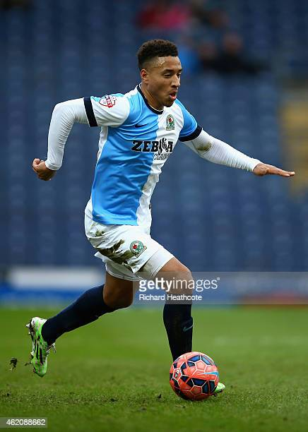 Adam Henley of Blackburn in action during the FA Cup Fourth Round match between Blackburn Rovers and Swansea City at Ewood park on January 24 2015 in...