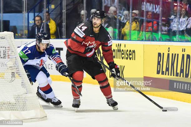 Adam Henrique of Canada controls the puck during the 2019 IIHF Ice Hockey World Championship Slovakia group A game between Great Britain and Canada...
