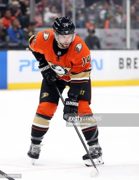 Adam Henrique of the Anaheim Ducks at Honda Center on October 15, 2021 in Anaheim, California.