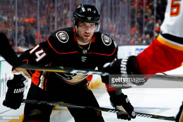 Adam Henrique of the Anaheim Ducks lines up for a faceoff during the game against the Calgary Flames on December 29 2017 at Honda Center in Anaheim...