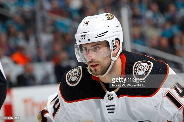 Adam Henrique of the Anaheim Ducks looks on during the game against the San Jose Sharks in Game Three of the Western Conference First Round during...