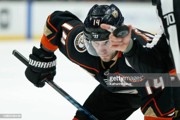Adam Henrique of the Anaheim Ducks prepares for a faceoff against New Jersey Devils at Honda Center on December 09 2018 in Anaheim California
