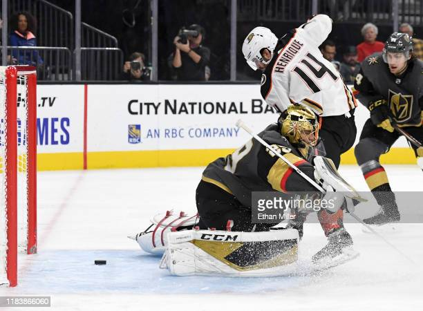 Adam Henrique of the Anaheim Ducks scores a goal against MarcAndre Fleury of the Vegas Golden Knights in the third period of their game at TMobile...