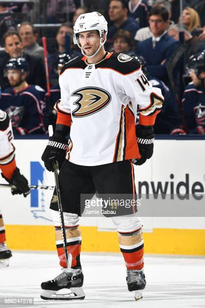 Adam Henrique of the Anaheim Ducks skates against the Columbus Blue Jackets on December 1 2017 at Nationwide Arena in Columbus Ohio