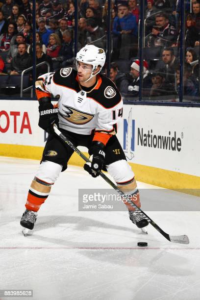 Adam Henrique of the Anaheim Ducks skates with the puck during the first period of a game against the Columbus Blue Jackets on December 1 2017 at...