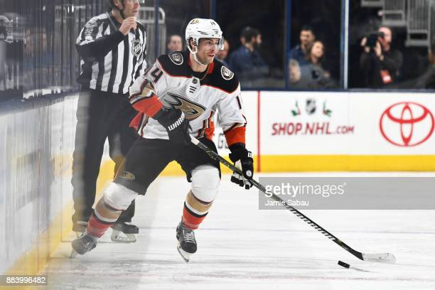 Adam Henrique of the Anaheim Ducks skates with the puck during the second period of a game against the Columbus Blue Jackets on December 1 2017 at...