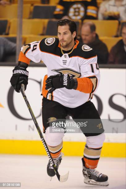 Adam Henrique of the Anaheim Ducks warms up before the game against the Boston Bruins at the TD Garden on January 30 2018 in Boston Massachusetts