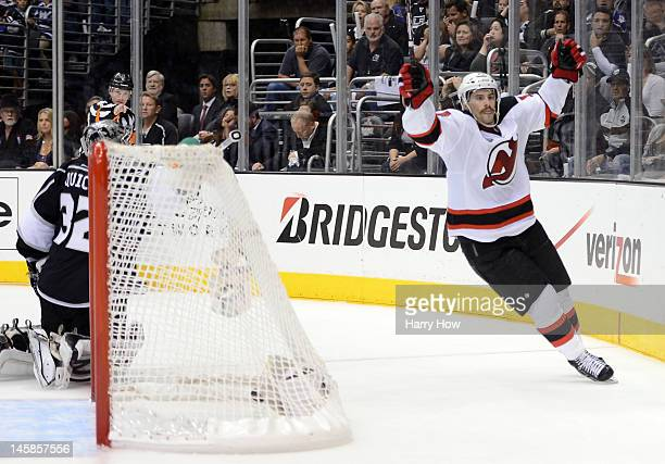 Adam Henrique of the New Jersey Devils celebrates his goal over the Los Angeles Kings in the third period of Game Four of the 2012 Stanley Cup Final...