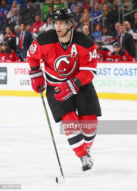 Adam Henrique of the New Jersey Devils skates against the New York Rangers during the game at Prudential Center on March 21 2017 in Newark New Jersey