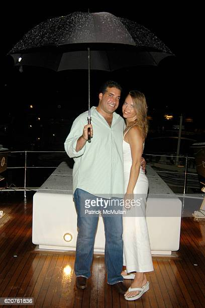 Adam Hertz and Margarita Moore attend Miguel Forbes celebrates the 4th of July aboard The Highlander at The Highlander on July 4, 2008 in Sag Harbor,...