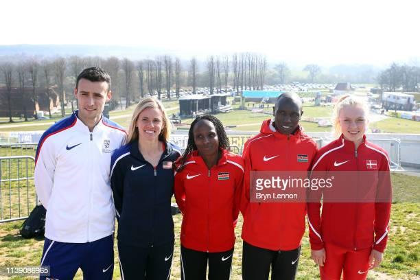 Adam Hickey of Great Britain Courtney Frerichs of the USA Hellen Obiri of Kenya Geoffrey Kipsang Kamworor of Kenya and AnnaEmilie Moller of Denmark...