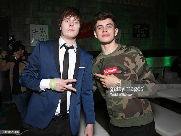 Adam Hicks and Hayes Grier attend Hulu Original's 'Freakish' Premiere at Smogshoppe on October 5 2016 in Los Angeles California