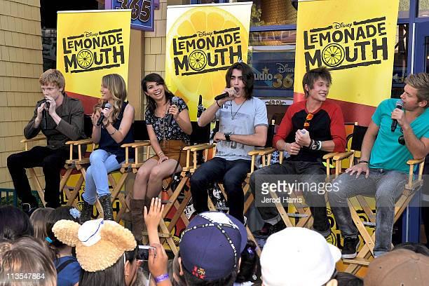 Adam Hicks Bridgit Mendler Hayley Kiyoko Blake Michael Nick Roux and Chris Brochu of 'Lemonade Mouth' host a meet greet at Studio Disney 365 at...
