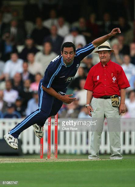 Adam Hollioake of Surrey bowls during the Twenty20 QuarterFinal match between Surrey Lions and Worcestershire Royals at The Brit Oval on July 19 2004...