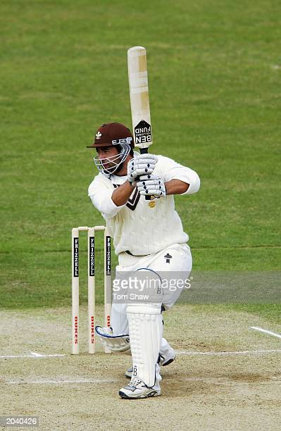 Adam Hollioake of Surrey hits out during the Frizzell County Championship Division One match between Surrey and Lancashire held on April 21 2003 at...