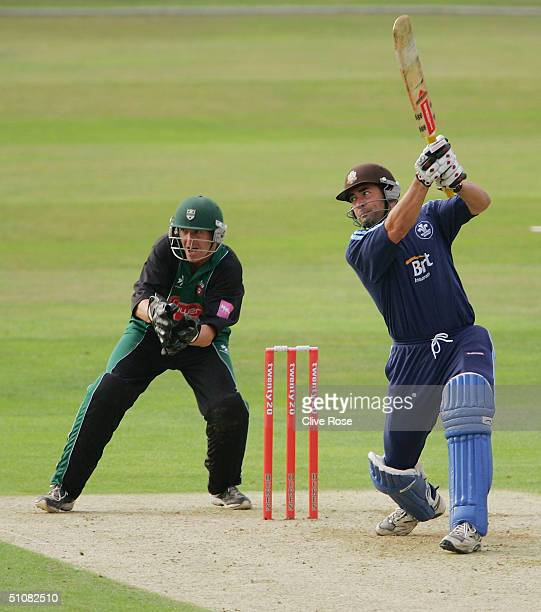 Adam Hollioake of Surrey in action during the Twenty20 QuarterFinal match between Surrey Lions and Worcestershire Royals at The Brit Oval on July 19...