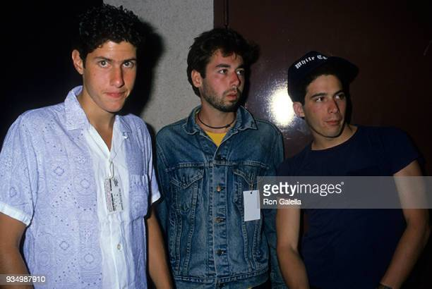 Adam Horovitz Adam Yauch and Mike Diamond of the Beastie Boys attend Run DMCBeastie Boys Press Conference on May 11 1987 at B Smith's Restaurant in...