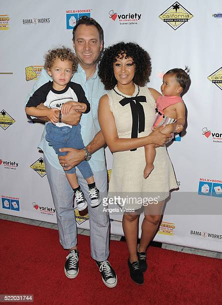 Adam Housley Aden John Tanner Housley Tamera Mowry and Ariah Talea Housley arrive at the 7th Annual Milk Bookies' Story Time Celebration at...