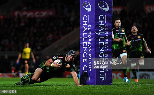 Adam Hughes of Exeter Chiefs goes over for his side's sixth try during the European Rugby Challenge Cup match between Exeter Chiefs and La Rochelle...