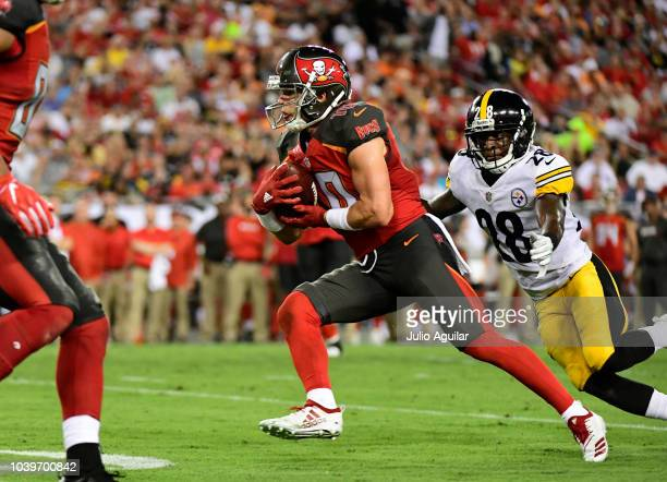 Adam Humphries of the Tampa Bay Buccaneers carries the ball in the third quarter against the Pittsburgh Steelers on September 24 2018 at Raymond...