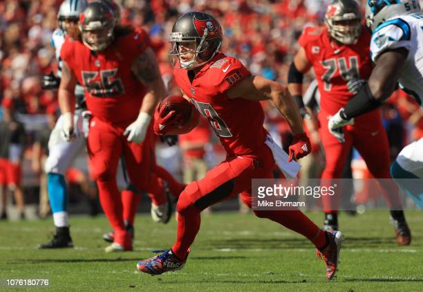 Adam Humphries of the Tampa Bay Buccaneers catches a 13yard pass thrown by Jameis Winston during the second quarter against the Carolina Panthers at...