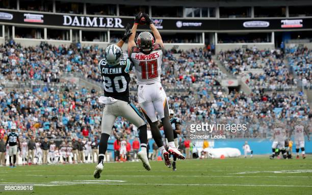 Adam Humphries of the Tampa Bay Buccaneers catches a pass against Kurt Coleman of the Carolina Panthers in the second quarter during their game at...
