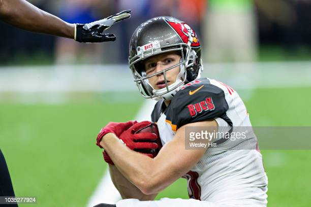 Adam Humphries of the Tampa Bay Buccaneers fields a kick off during a game against the New Orleans Saints at MercedesBenz Superdome on September 9...