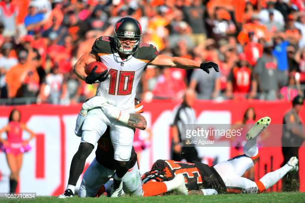 Adam Humphries of the Tampa Bay Buccaneers makes a reception in the fourth quarter against the Cleveland Browns on October 21 2018 at Raymond James...