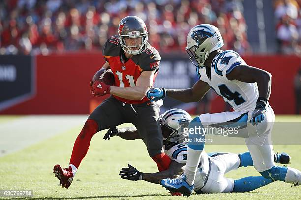 Adam Humphries of the Tampa Bay Buccaneers runs after a reception against the Carolina Panthers in the fourth quarter of the game at Raymond James...