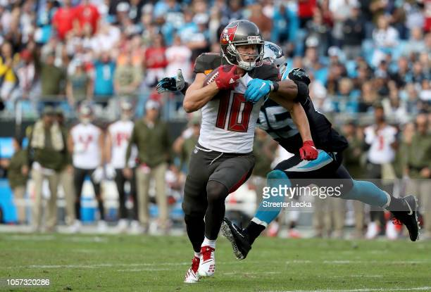 Adam Humphries of the Tampa Bay Buccaneers runs for a touchdown against the Carolina Panthers in the fourth quarter during their game at Bank of...