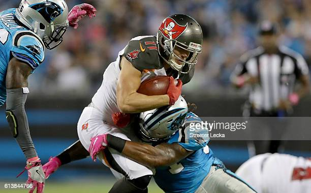 Adam Humphries of the Tampa Bay Buccaneers runs the ball against Robert McClain of the Carolina Panthers in the 2nd quarter during their game at Bank...